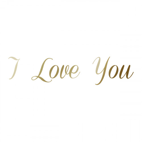 Antique Gold Iron on I Love You 16x3.5cm