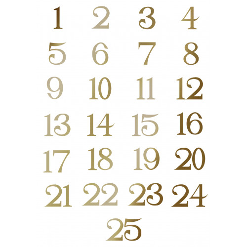 Small Iron on Advent Calendar Numbers in Antique Gold