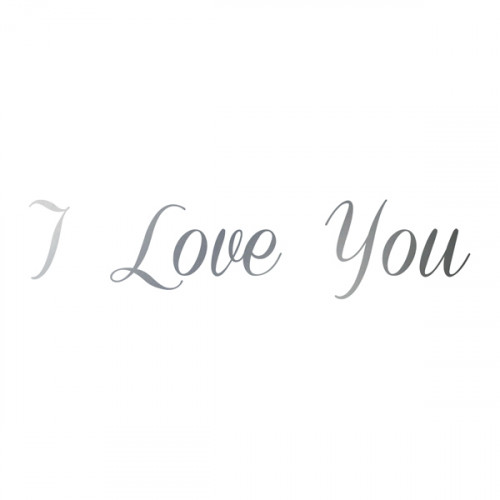 Antique Silver Iron on I Love You 16x3.5cm