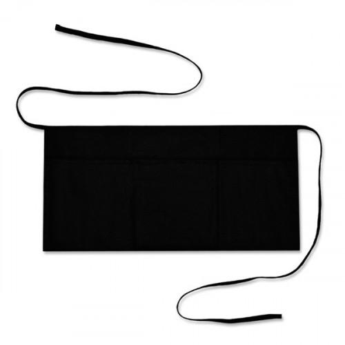 Black cotton short Bar Apron 52x26cm 3 pockets