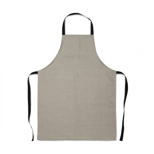 Natural linen Apron 58x78cm, no pockets, black cotton webbing ties & neck strap