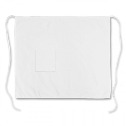White polycotton long Bar Apron 88x71cm 1 pocket