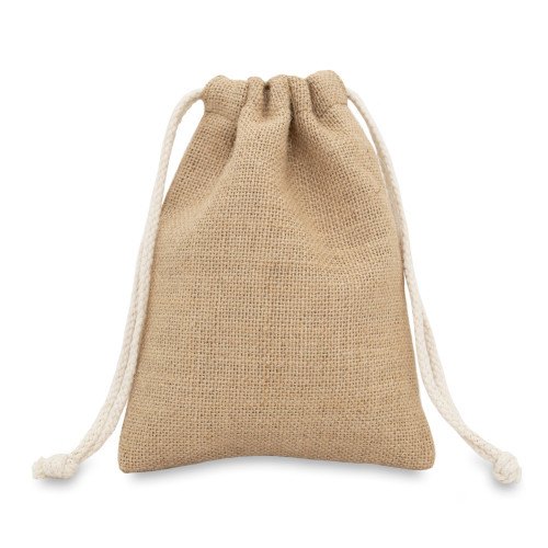 Natural jute drawstring bag 15x20cm with braided cotton drawcords