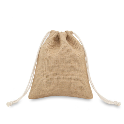 Natural jute drawstring bag 20x24cm with braided cotton drawcords