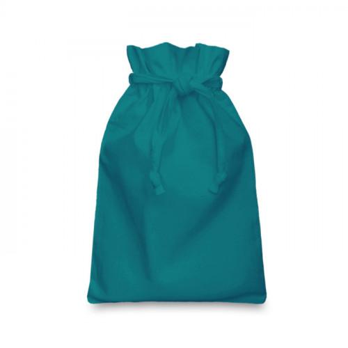 Teal cotton Drawstring Bag 20 x 28cm