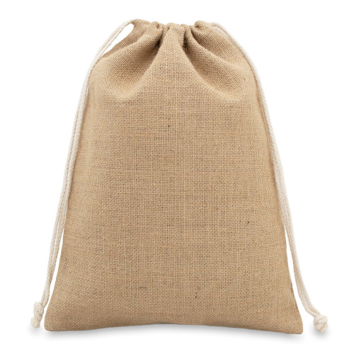 Natural jute drawstring bag 25x35cm with braided cotton drawcords