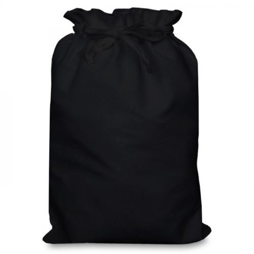 Black cotton Double Drawstring Bag 30x44cm