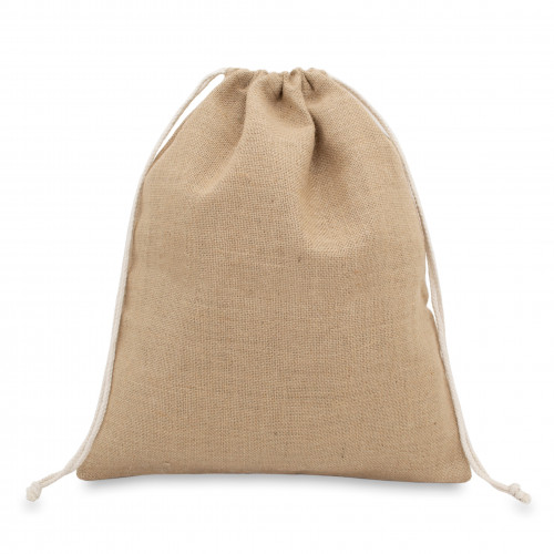 Natural jute drawstring bag 38x43cm with braided cotton drawcords