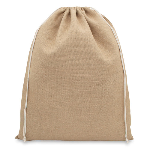 Natural jute drawstring sack 46x60cm with braided cotton drawcords