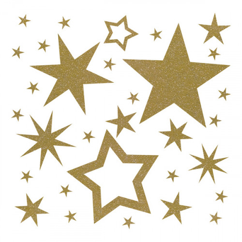 Glitter Gold Iron on Stars 20x20cm