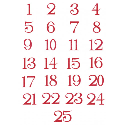 Small Iron on Advent Calendar Numbers in Glitter Red