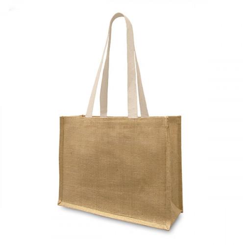 Natural jute Shopper Long Handles&Gusset-front