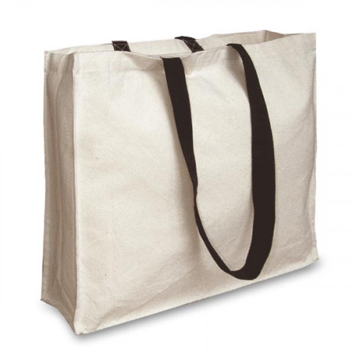 Natural Canvas Landscape Shopper with Gusset and Black Handles