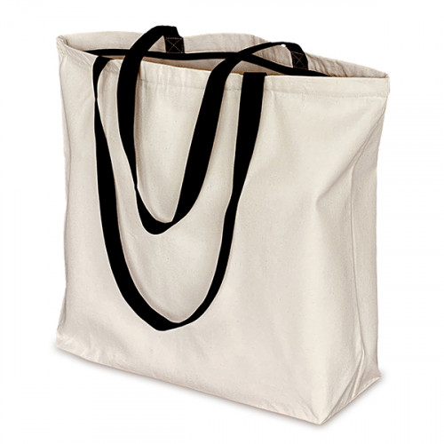 Natural canvas Super Shopper Black Handles + Zip 52x40cm Base 13cm