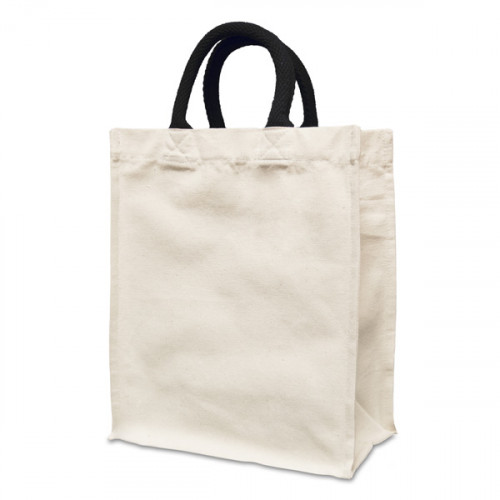 Natural canvas 8oz Handy Shopper 21x26x12cm short black Handles.Gusset