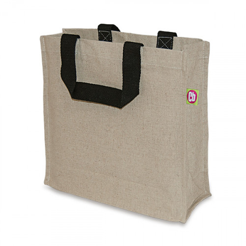 Natural hemp/cotton Carryall 30x30x10cm Black handles