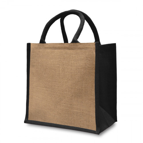 Natural/Black Jute Box Bag 32x32x20cm