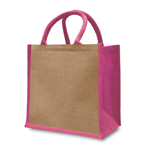 Natural/Pink Jute Box Bag 32x32x20cm