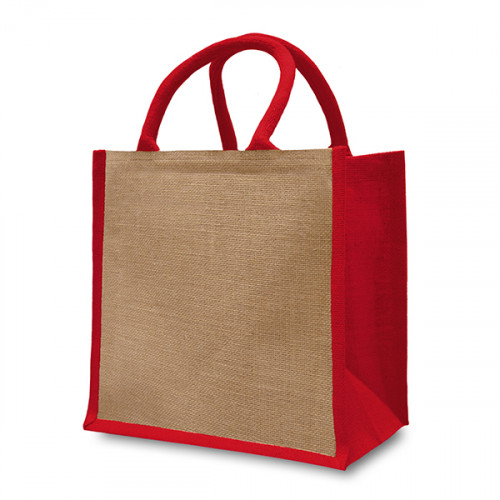 Natural/Red Jute Box Bag 32x32x20cm