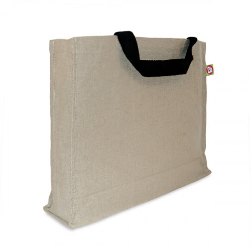 Natural hemp/cotton 4bottle Carryall 41x33x10cm short handles&gusset- front