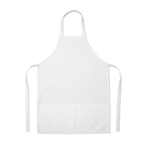 White polycotton Apron 58x78cm 3 pockets