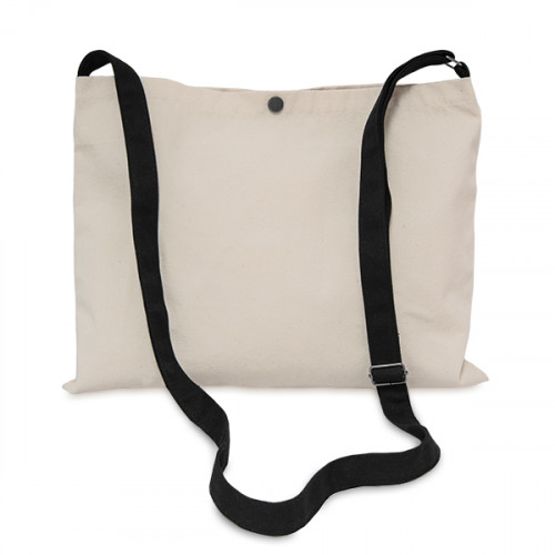 Natural canvas 8oz Musette Bag 40x30cm, 150cm Long adjustable strap- front