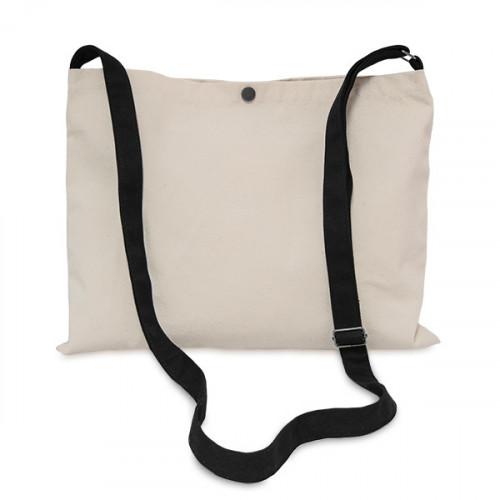 Natural canvas 8oz Musette Bag 40x30cm, 150cm Long adjustable strap- front