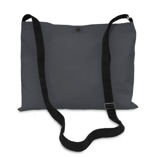 Slate Grey canvas 8oz Musette Bag 40x30cm, 150cm Long adjustable strap- front