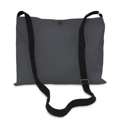 Slate Grey canvas 8oz Musette Bag 40x30cm, 150cm Long adjustable strap- front
