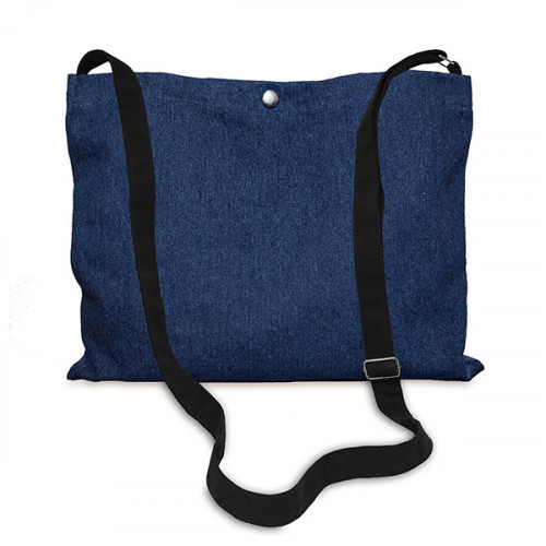 Indigo Denim Musette Bag 40x30cm, 150cm Long adjustable strap-front