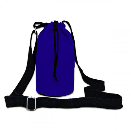 Blue canvas 8oz bottle Carrier Bag 13x18cm crossbody strap- close