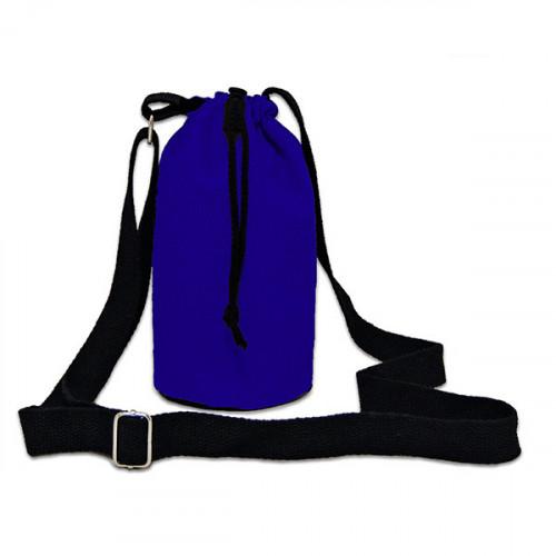 Blue canvas 8oz bottle Carrier Bag 13x18cm crossbody strap- close
