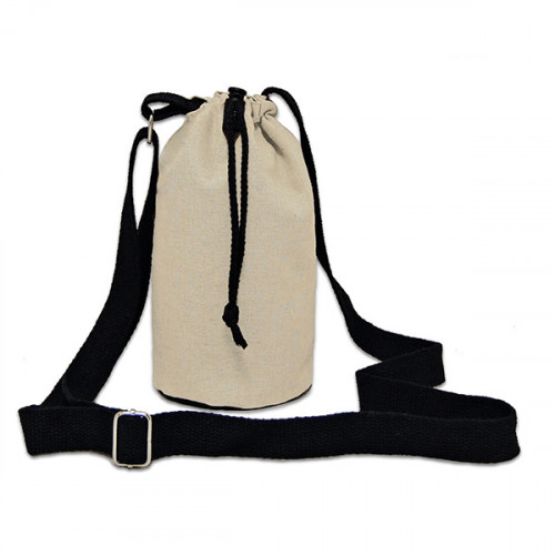 Natural canvas 8oz bottle Carrier Bag 13x18cm crossbody strap- close