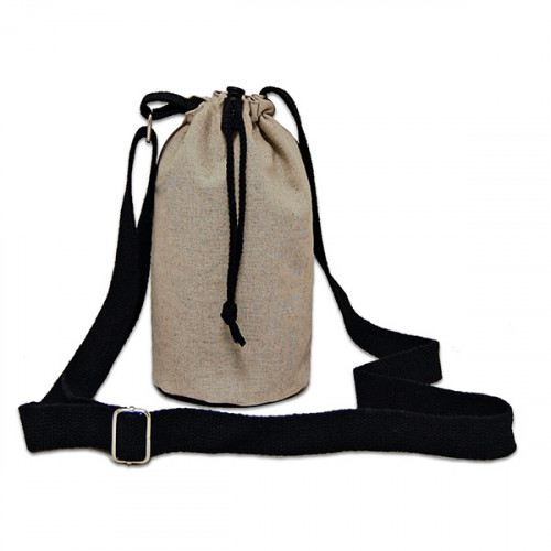 Natural hemp/cotton bottle Carrier Bag 13x18cm crossbody strap- close