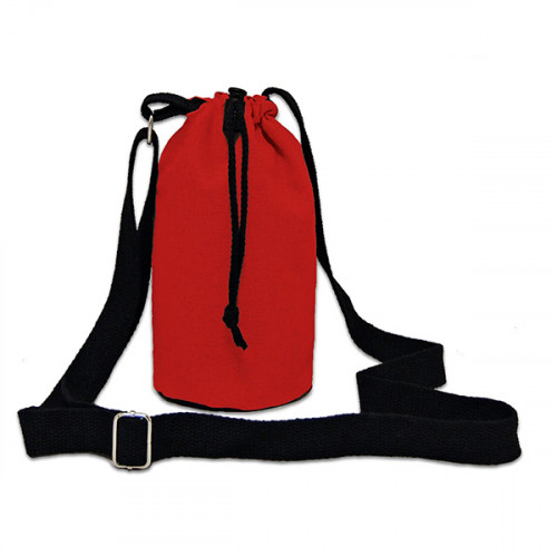 Red canvas 8oz bottle Carrier Bag 15x20cm crossbody strap- close