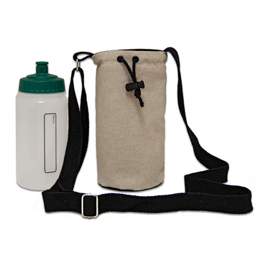 Natural hemp/cotton bottle Carrier Bag 15x20cm crossbody strap- close
