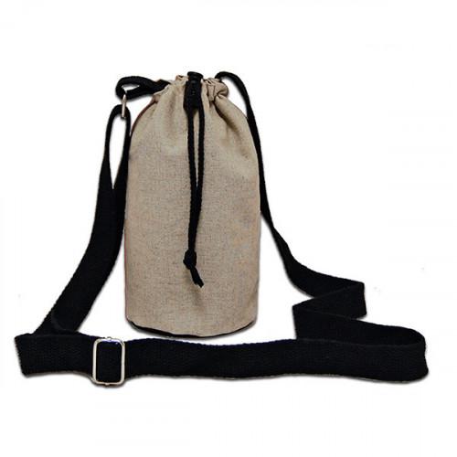 Natural hemp/cotton bottle Carrier Bag 15x20cm crossbody strap- open