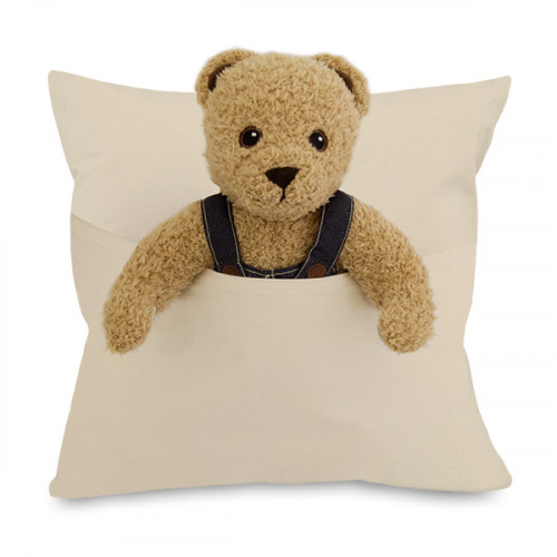 Natural 8oz Canvas Cushion Cover 45x45cm with 28cm high Pocket- front