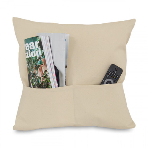 Natural canvas 8oz Cushion Cover 45x45cm square, 2 pockets - front with magazine & remote control