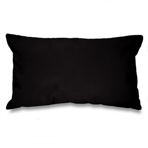 Black canvas 8oz Cushion Cover 51x30cm, concealed zip - front