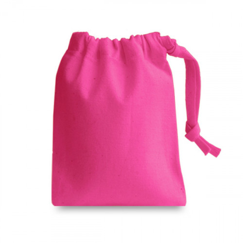 Raspberry cotton Drawstring Bag 10x13cm