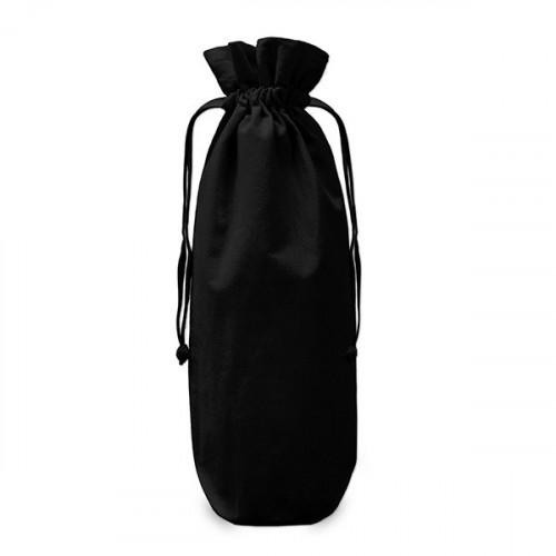 Black cotton Drawstring Bottle Gift Bag 17x37cm