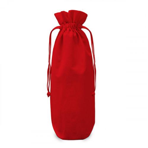Red cotton Drawstring Bottle Gift Bag 17x37cm