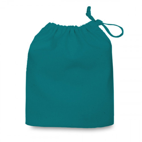 Teal cotton Drawstring Bag 30 x 24cm