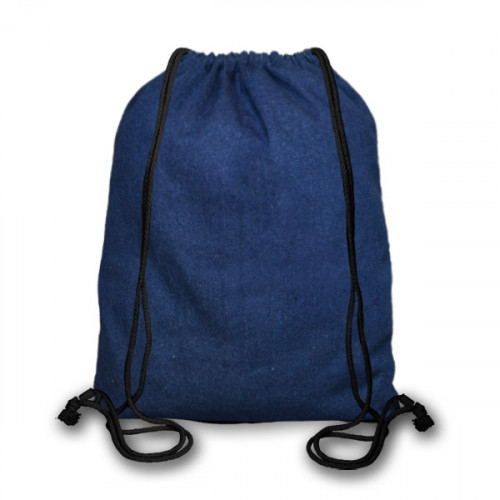 Indigo Denim cotton Drawstring Duffel Bag 40x45cm