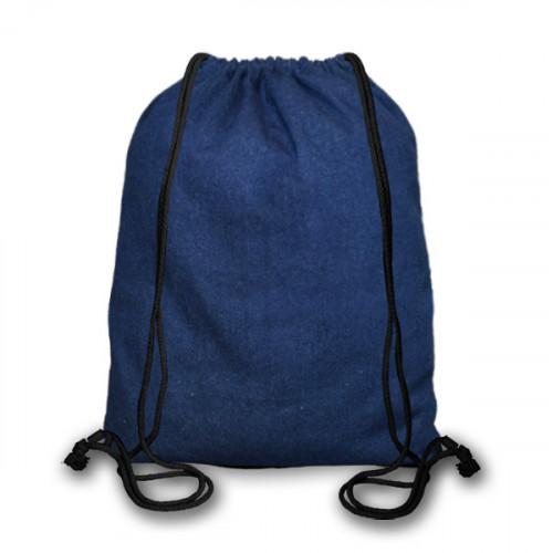 Indigo Denim cotton Drawstring Duffel Bag 40x45cm