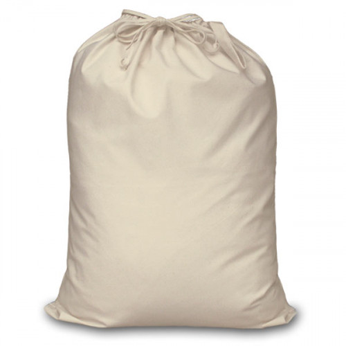 Seconds Natural canvas Double Drawstring Sack 60x76cm, faulty stitching