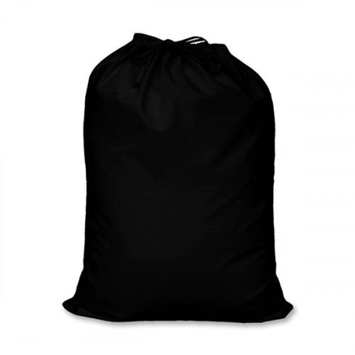 Black cotton large Drawstring Sack 46x60cm