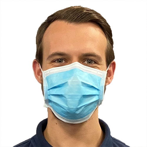 Disposable 3 layer face masks for non-medical use - front view