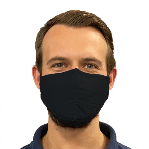 Black cotton 3 layer face mask for non-medical use - front view